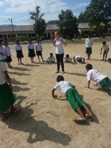 Instead of teaching sex ed, I have decided to get these kiddos into shape! English boot camp! Yeah! Notice the girls just standing there...