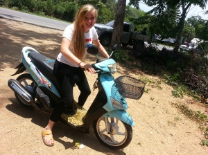 So happy and innocent on the motorbike...little did I know that 5 minutes after this photo is taken, I'll realize that it's a bad idea to wear a white shirt in rainy season Thailand...just one out of many monsoon experiences.
